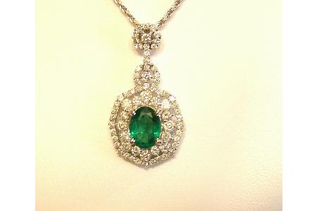 Z018-27644: 18Kt Emerald & diamomond Pendant